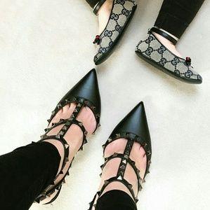 Black Rock stud Ankle Strap Sandal